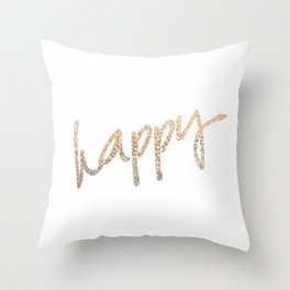 GOLD HAPPY Throw Pillow