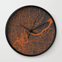 Brisbane Map Wall Clock