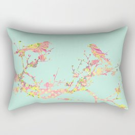 Love Birds on Branch Vintage Floral Shabby Chic Pink Yellow Mint Rectangular Pillow