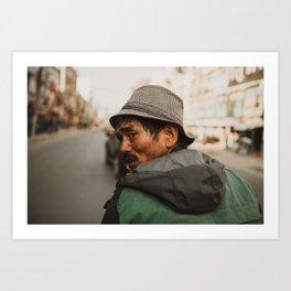 Nepali man, Kathmandu Art Print