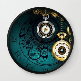 Clock with Gears on Green Background ( Steampunk ) Wall Clock