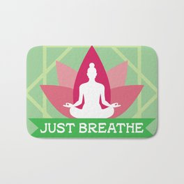 New Age Zen Yoga Lover Just Breathe Stretching Lotus Minty Bath Mat