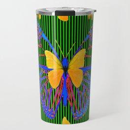 YELLOW BUTTERFLIES  BLUE MODERN ART DESIGN Travel Mug
