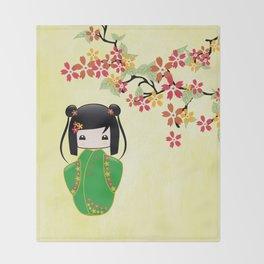 Sakura Kokeshi Doll Throw Blanket