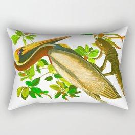 Brown Pelican Vintage Illustration Rectangular Pillow