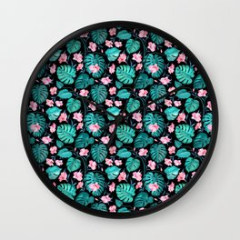 Tropical teal pink black vector floral pattern Wall Clock