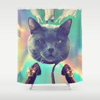 saga Shower Curtains featuring galactic Cats Saga 3 by Carolina Nino