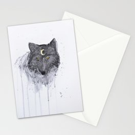 the wolf and the moon Stationery Cards