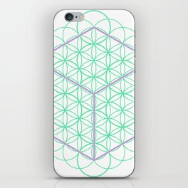 Sacred Geometry - glowing energy lines - cube and flowers iPhone Skin