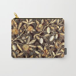 Pomegranate Pattern Gold On Dark Filigree Carry-All Pouch