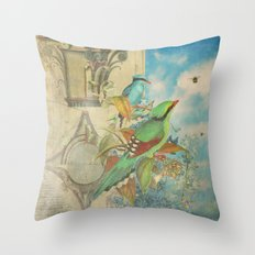 Birds and Bees Throw Pillow