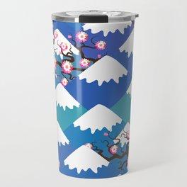 Spring Nature background with Japanese cherry blossoms, sakura pink flowers landscape. blue mountain Travel Mug