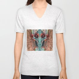 screaming zombie Unisex V-Neck
