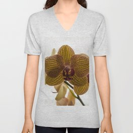 Red Veined Orchid Unisex V-Neck