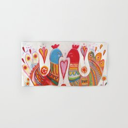 Folk Love Birds Hand & Bath Towel