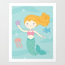 Mermaid Swim Art Print