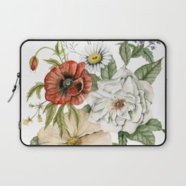 Wildflower Bouquet on White Laptop Sleeve