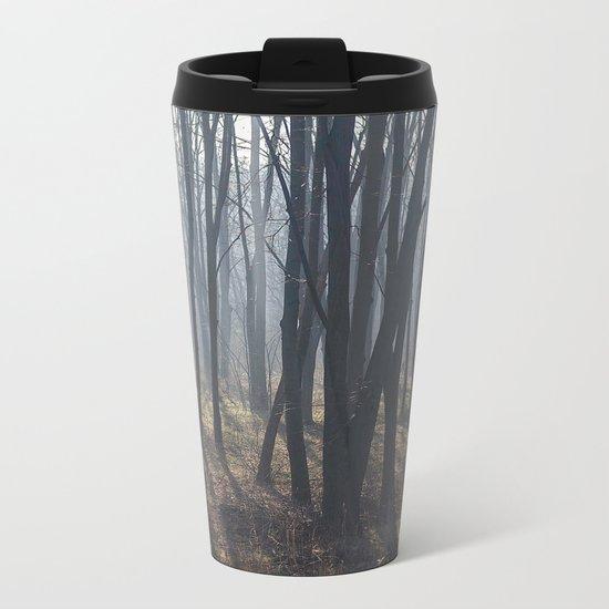 Fog Autumn forest Metal Travel Mug