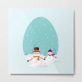 Snowman Couple Metal Print