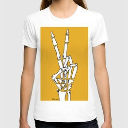 Peace and Love - pop Catrina bone hand T-shirt
