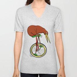 Kiwi Riding A Unicycle Unisex V-Neck