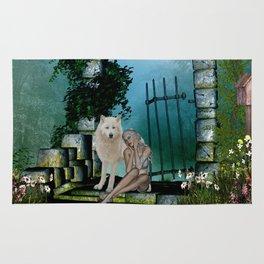 Wonderful fairy with white wolf Rug