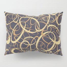 funky retro loops orange cream navy Pillow Sham