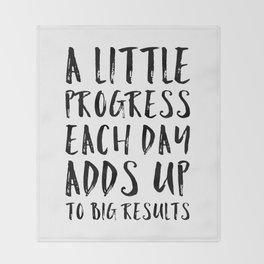 A Little Progress Motivational Quote Throw Blanket