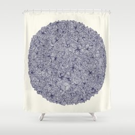 Held Together - a pattern of navy blue doodles Shower Curtain