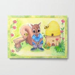 Bee Kind Squirrel Metal Print