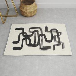 Mid Century Modern Minimalist Abstract Art Brush Strokes Black & White Ink Art Pipe Maze Rug