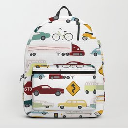 Beep Beep! Cars and Trucks Traffic Pattern Backpack