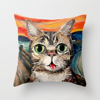 lil bub Throw Pillows featuring Lil Bub Meets The Scream by Sagittarius Gallery