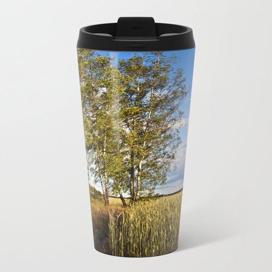 Corn Field with Birch Trees Metal Travel Mug