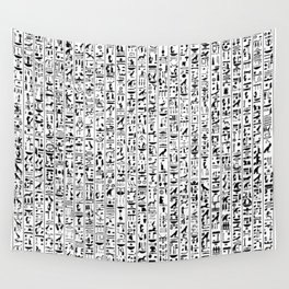 Hieroglyphics B&W / Ancient Egyptian hieroglyphics pattern Wall Tapestry