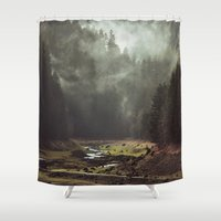 horror Shower Curtains featuring Foggy Forest Creek by Kevin Russ