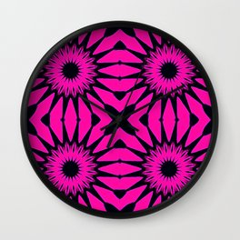 Pink & Black Flowers Wall Clock