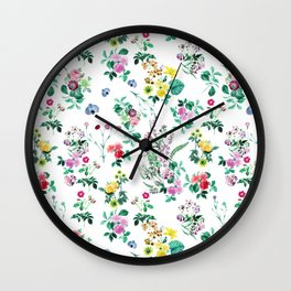 Roses, Moth Orchids, Lilies - Green Pink Blue Wall Clock