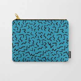 memphis pattern trendy modern pattern print black and blue retro prints Carry-All Pouch