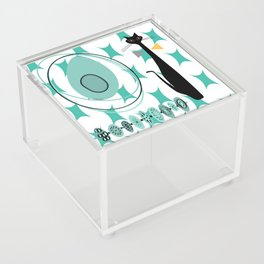Mid-Century Modern Atomic Art - Teal - Cat Acrylic Box