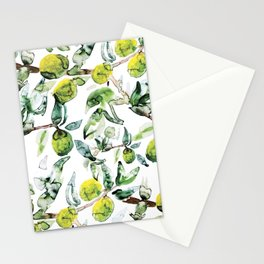 Lime Tree Branch Pattern Watercolor Stationery Cards