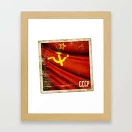 Sticker of Soviet Union (1922-1991) flag Framed Art Print