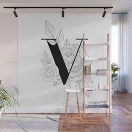 Monogram Letter V with Rose Line Art Wall Mural