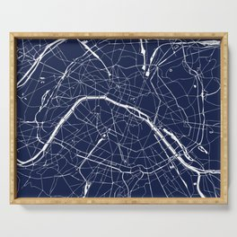 Paris France Minimal Street Map - Navy Blue and White Reverse Serving Tray
