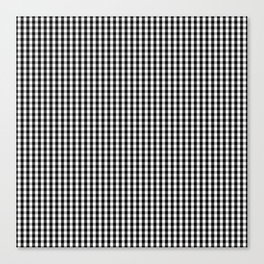 Classic Small Black & White Gingham Check Pattern Canvas Print