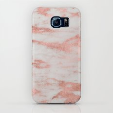White Marble with Rose Gold Foil Slim Case Galaxy S7