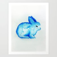 rabbit Art Prints featuring rabbit by carrie booth