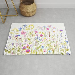 botanical colorful wildflower garden watercolor painting horizontal Rug