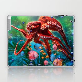 Red Octopus with Fish Laptop & iPad Skin