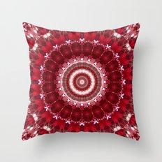 Mandala red Hearts Throw Pillow